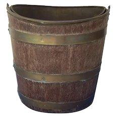 Georgian Style Irish Peat Bucket Brass Liner Mahogany Brass Bands