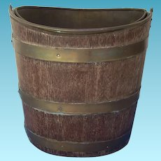 Georgian Style Irish Peat Bucket Brass Liner Mahogany Brass Bands