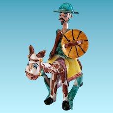 Vintage Italian Ceramic Figure Don Quixote on his Donkey by Antonio Carlino Sciacca Italy 1960s