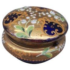 Vintage Cobalt Blue Enameled Glass Dresser Box Powder Jar Hinged Casket Austria