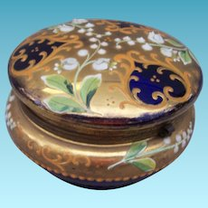 Vintage Cobalt Blue Enameled Hinged Dresser Box Powder Jar Casket Austria