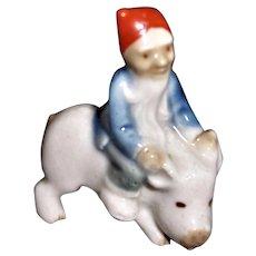 Vintage Wade Leprechaun Riding a Pig Figurine Red Cap 1950s