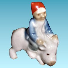 Vintage Wade Leprechaun Riding a Pig Figurine Red Cap 1950s