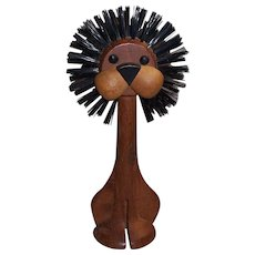 Mid Century Modern Teak Wood Lion Clothes Brush Lonborg Denmark MCM
