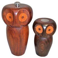 Vintage Wooden Owl Pepper Grinder and Salt Shaker Set