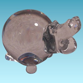 Vintage Glass Hippo Paperweight by FM Ronneby Sweden