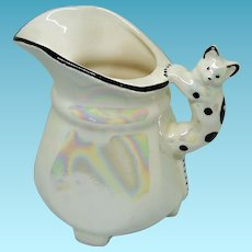 Vintage Czechoslovakia Pitcher With Cat Handle Iridescent