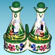 Vintage Faience Pottery Cruet Set Desvres France