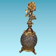 Vintage Stylebuilt Perfume Bottle Ormolu Diamond Point Glass Rose Motif