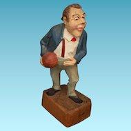 Vintage Jaschke Pretzl Carved Wood Figure of Bowler Germany