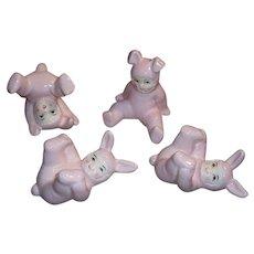 Vintage Fitz & Floyd Pink Baby Bunny Rabbit Tumbling Figurines Set of 4 Original Box  FF Japan Fitz and Floyd