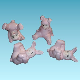 Vintage Fitz & Floyd Pink Baby Bunny Rabbit Tumbling Figurines Set of 4 Original Box  FF Japan Fitz and Floyd