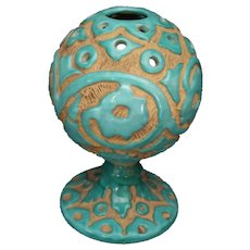 Vintage Pleasant Valley Italian Ceramic Frog Vase Sgraffito Carved Art Pottery 1950s Aqua
