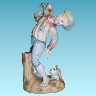 Vintage Shafford China Japanese Bisque Figurine Boy with Cockatoo and Dog