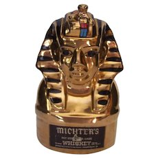 Vintage King Tut Bottle Michter's Whiskey Decanter Bottle King Tutankhamun 1978 Barware
