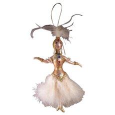 Vintage DeCarlini Style Glass Ornament, Ladies with Elegance, Hand Painted Mercury Glass Ornament, Ziegfeld Follies Dancer