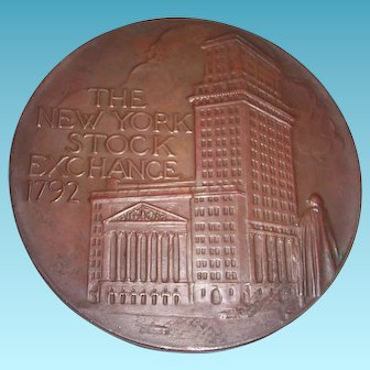 Vintage Solid Bronze Medallion Paperweight NYSE Bull & Bear 1980s Medalic Arts Bronze Medal