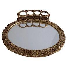 Vintage Gold Ormolu Vanity Mirrored Tray with Lipstick Tube Holders Hollywood Regency