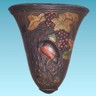 Antique Bird on Grape Goofus Glass Wall Pocket Indiana Glass Co. Circa 1919