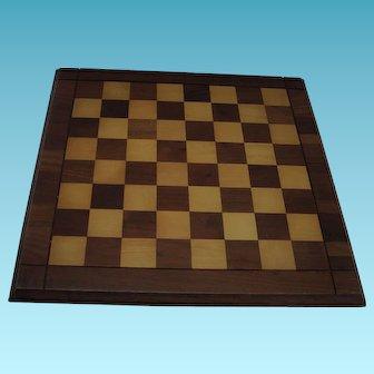 "Vintage Drueke Wooden Game Board Walnut & Birch 15"" by 15"" Double Sided Chess Checkers"