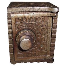 Vintage Kenton Brand Cast Iron Union Combination Still Bank 1904 Aqua Blue Toy Safe