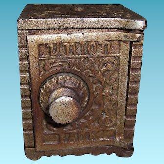 Vintage Kenton Brand Cast Iron Union Combination Still Bank 1904 Aqua Blue