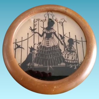 Vintage Round Silhouette Reversed Painted Scene on Glass Framed Dog Birds Woman & Child