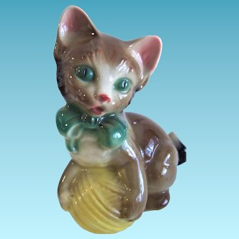 Vintage Royal Copley Cat Yellow Ball Yarn Ceramic Kitten Cat Collectible Antique Figurine