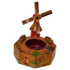 Vintage Tobacciana Souvenir Wooden Ashtray Dutch Windmill Made in Holland Smoking Cigarettes