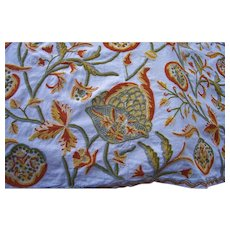 Vintage Original Crewel Work Coverlet Bedspread 1970s King Size Linen Bohemian Crewel Embroidery Pomegranates