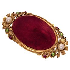 Vintage Florenza Jeweled Pin Cushion Box Goldtone Fuchsia Velvet Italy