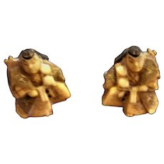Vintage Japanese Cufflinks Carved Bone and Silver Toshikane Kabuki Character Artist Signed
