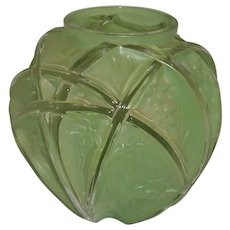 Phoenix Consolidated Glass Vase Green Martele 700 Line 1930s