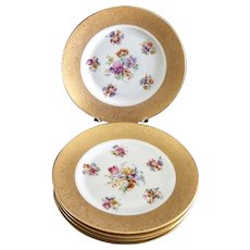 Vintage China Dinner Plates (5) Flowered and Gold Encrusted Made in Czechoslovakia Fabulous
