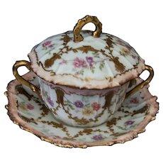 Vintage Limoges Porcelain Boullion Cup Saucer Lid