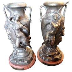 PAIR Antique French Bronze Art Nouveau Vases, Nude Angels, Virgile Morey c. 1885