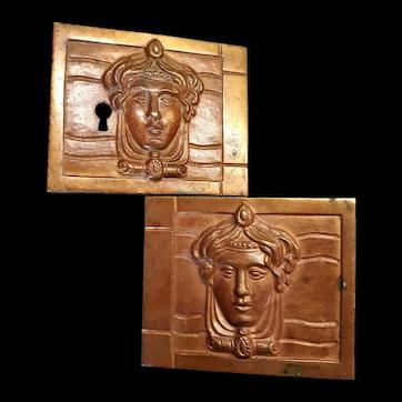 Very Large Antique French Art Nouveau Bronze Door Hardware, Woman's Head, c. 1890