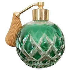 Early French Baccarat Green Crystal Perfume Bottle with Atomizer, 1920s