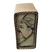 Antique 800 Silver Opium Box w/ Hand-Painted Portrait