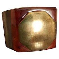ALBERT FLAMAND PARIS Fladium Déposé Cuff Bracelet With Hidden Compact and Mirror c 1934