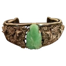 Antique 19th Century Hallmarked Chinese Export Jade, Sterling Silver Bracelet, Detailed Grapes, Rats