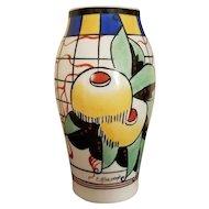 Colorful Art Deco Vase, Hand-Painted, signed P Bastard, Paris, c. 1930