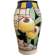 Colorful Art Deco Vase, Hand-Painted, signed P Bastard, Paris, c. 1930