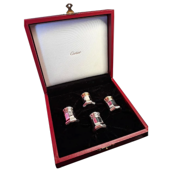 French Cartier Boxed Set of Four Sterling Silver Salt and Pepper Shakers