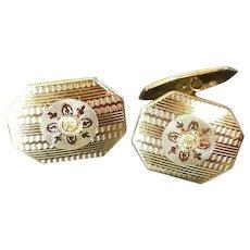 Men's S&C Art Deco 10K Gold, Diamond Cufflinks