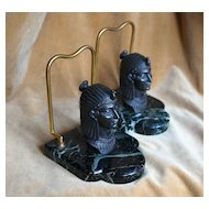 French Art Deco Maurice Frécourt Egyptian Isis Bookends c 1925