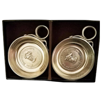 Pair of Charming Vintage, Boxed, French Wine Cups with Snake Handles