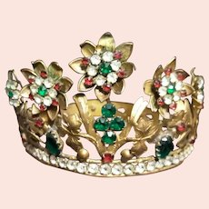 Antique French Art Nouveau Jewelled Tiara, c. 1880