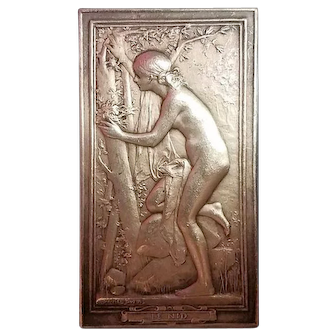 French Art Nouveau Sterling Silver Plaque, Nude and Cherub, Museum Piece, Signed c. 1890