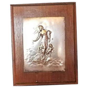 French Art Nouveau 800 Silver Plaque, Cupid and Beautiful Woman by Emile Dropsy, c. 1900